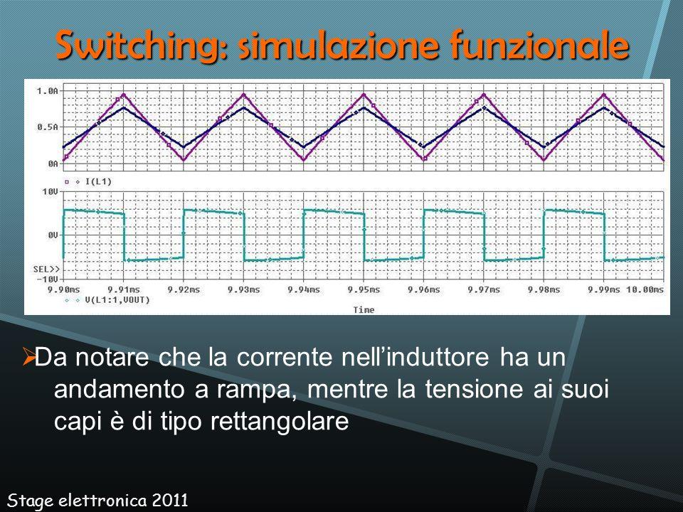Switching: simulazione funzionale Stage elettronica 2011 Da notare che la corrente nellinduttore ha un andamento a rampa, mentre la tensione ai suoi c