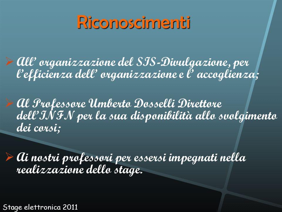 All organizzazione del SIS-Divulgazione, per lefficienza dell organizzazione e l accoglienza; Al Professore Umberto Dosselli Direttore dellINFN per la
