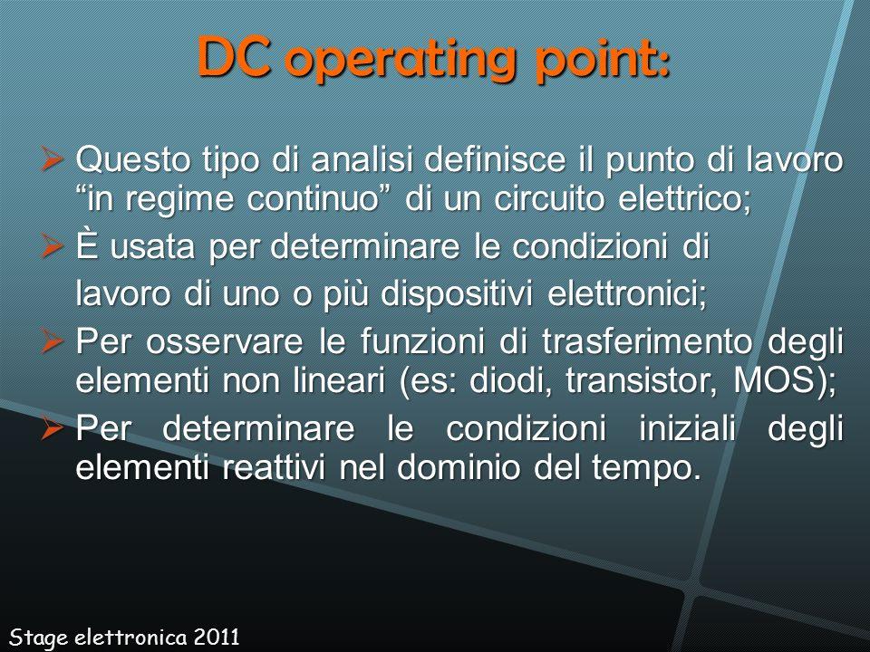 Questo tipo di analisi definisce il punto di lavoro in regime continuo di un circuito elettrico; Questo tipo di analisi definisce il punto di lavoro i