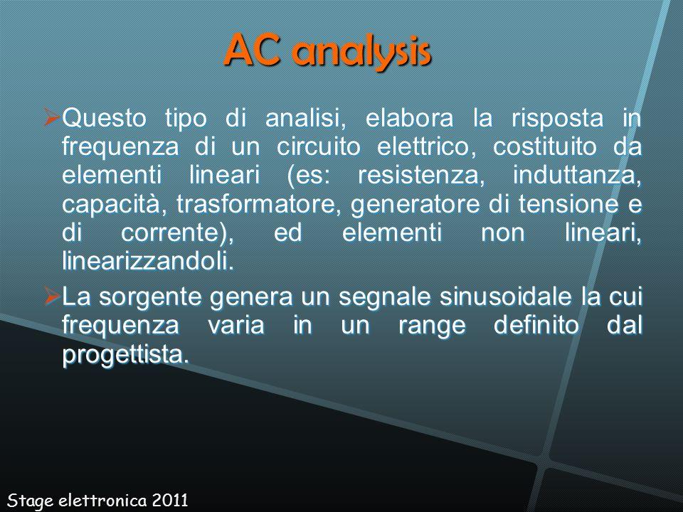 Questo tipo di analisi, elabora la risposta in frequenza di un circuito elettrico, costituito da elementi lineari (es: resistenza, induttanza, capacit