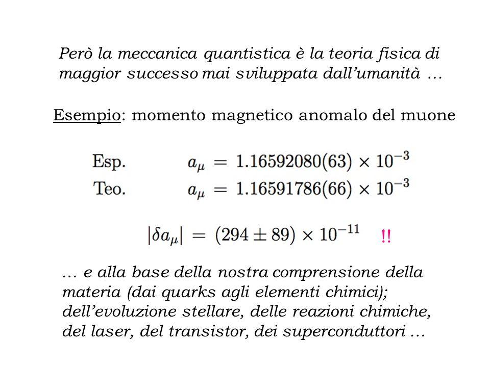 Paradosso EPR In analogia al caso classico, Einstein ritiene che esistano certe variabili nascoste che, qualora fosse possibile misurarne il valore, consentirebbero di predire il risultato di un certo esperimento con certezza La conclusione dellarticolo è allinsegna dellottimismo