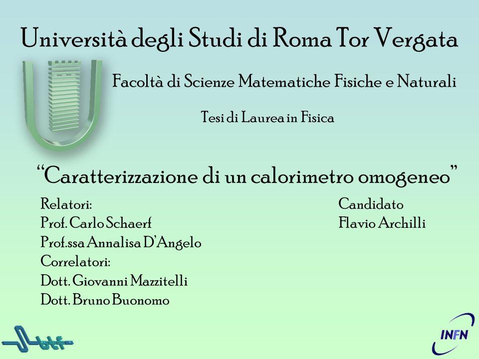 Università degli Studi di Roma Tor Vergata Tesi di Laurea in Fisica Facoltà di Scienze Matematiche Fisiche e Naturali Caratterizzazione di un calorime