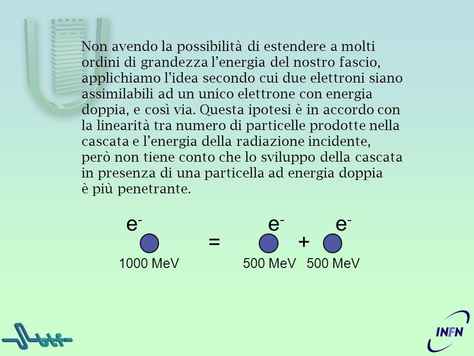 Non avendo la possibilità di estendere a molti ordini di grandezza lenergia del nostro fascio, applichiamo lidea secondo cui due elettroni siano assim