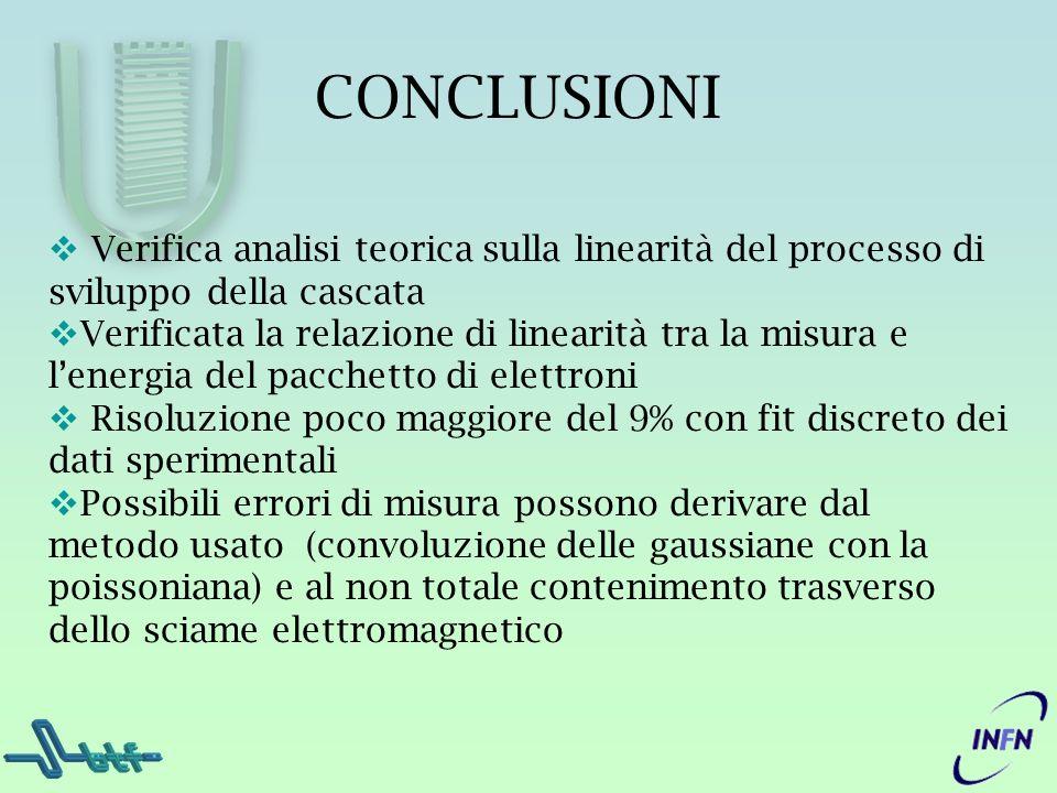 CONCLUSIONI Verifica analisi teorica sulla linearità del processo di sviluppo della cascata Verificata la relazione di linearità tra la misura e lener