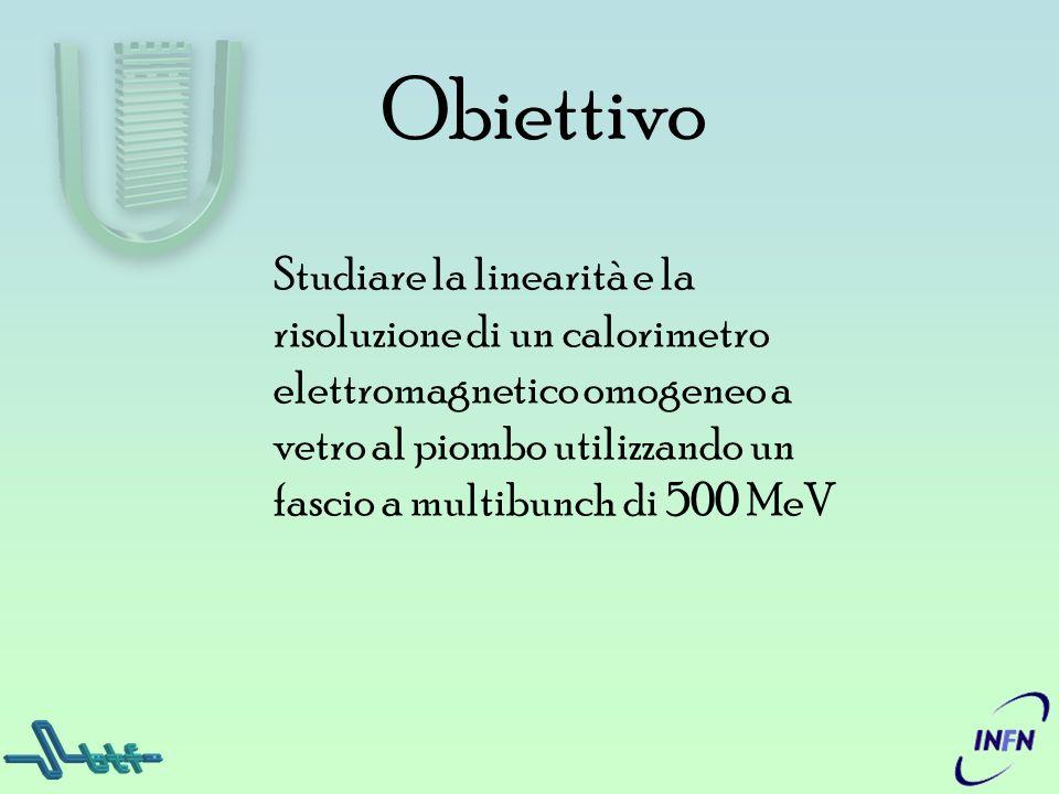 Obiettivo Studiare la linearità e la risoluzione di un calorimetro elettromagnetico omogeneo a vetro al piombo utilizzando un fascio a multibunch di 5