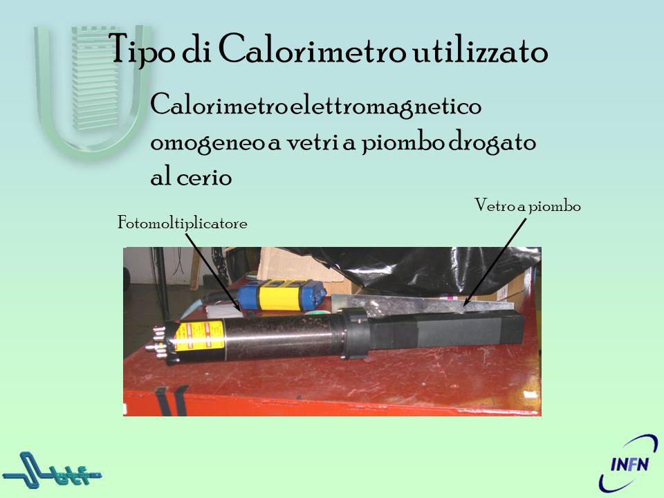 Tipo di Calorimetro utilizzato Calorimetro elettromagnetico omogeneo a vetri a piombo drogato al cerio Fotomoltiplicatore Vetro a piombo