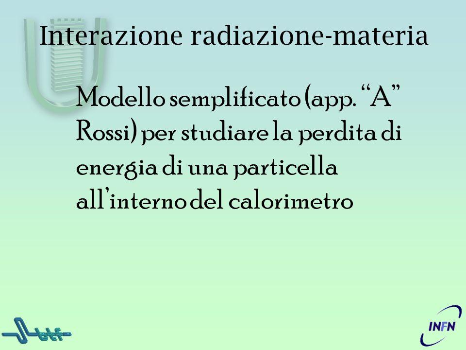 Modello semplificato (app. A Rossi) per studiare la perdita di energia di una particella allinterno del calorimetro Interazione radiazione-materia