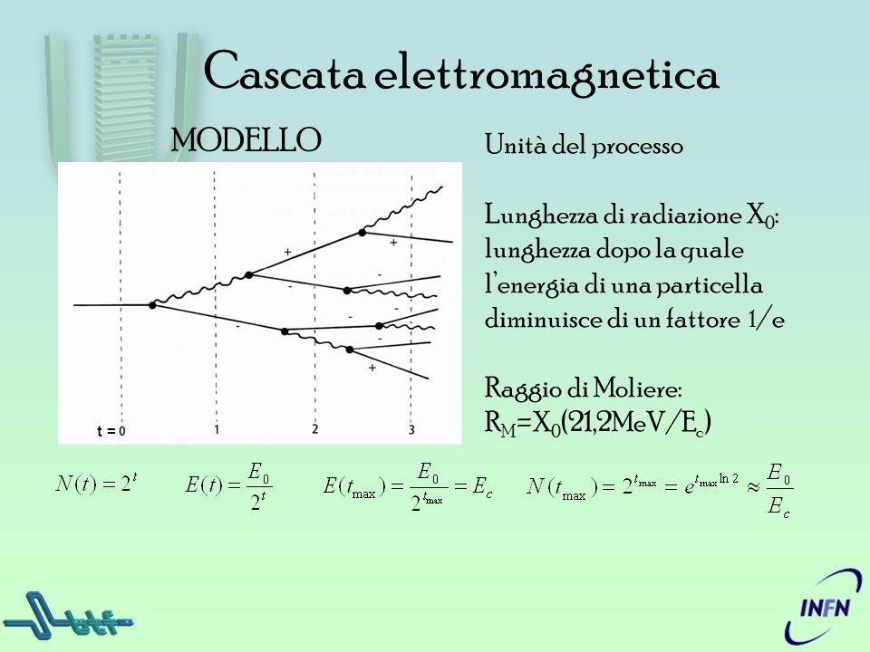 Cascata elettromagnetica Unità del processo Lunghezza di radiazione X 0 : lunghezza dopo la quale lenergia di una particella diminuisce di un fattore