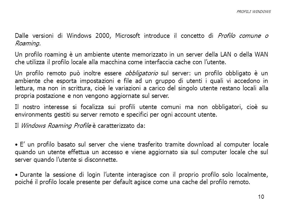 10 Dalle versioni di Windows 2000, Microsoft introduce il concetto di Profilo comune o Roaming.