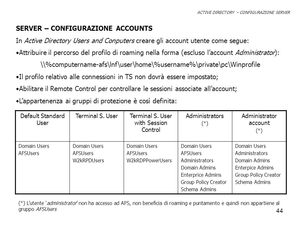 44 ACTIVE DIRECTORY – CONFIGURAZIONE SERVER SERVER – CONFIGURAZIONE ACCOUNTS In Active Directory Users and Conputers creare gli account utente come se