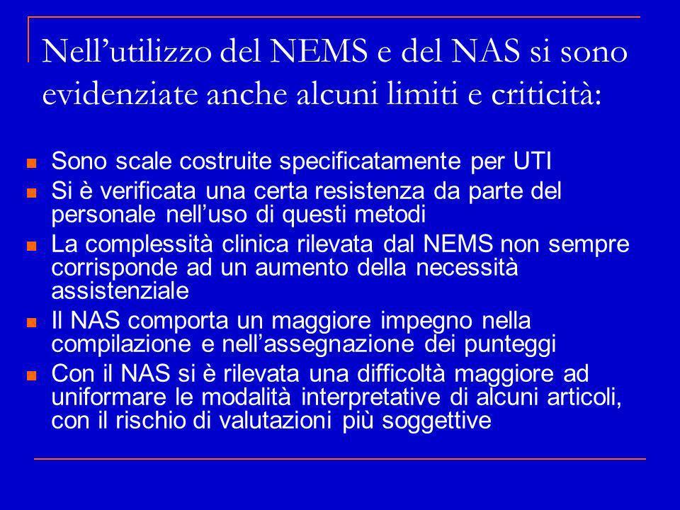 Nellutilizzo del NEMS e del NAS si sono evidenziate anche alcuni limiti e criticità: Sono scale costruite specificatamente per UTI Si è verificata una