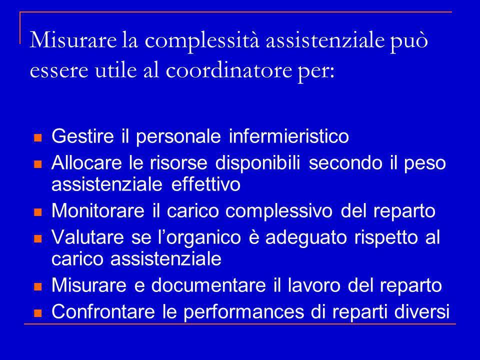 Misurare la complessità assistenziale può essere utile al coordinatore per: Gestire il personale infermieristico Allocare le risorse disponibili secon