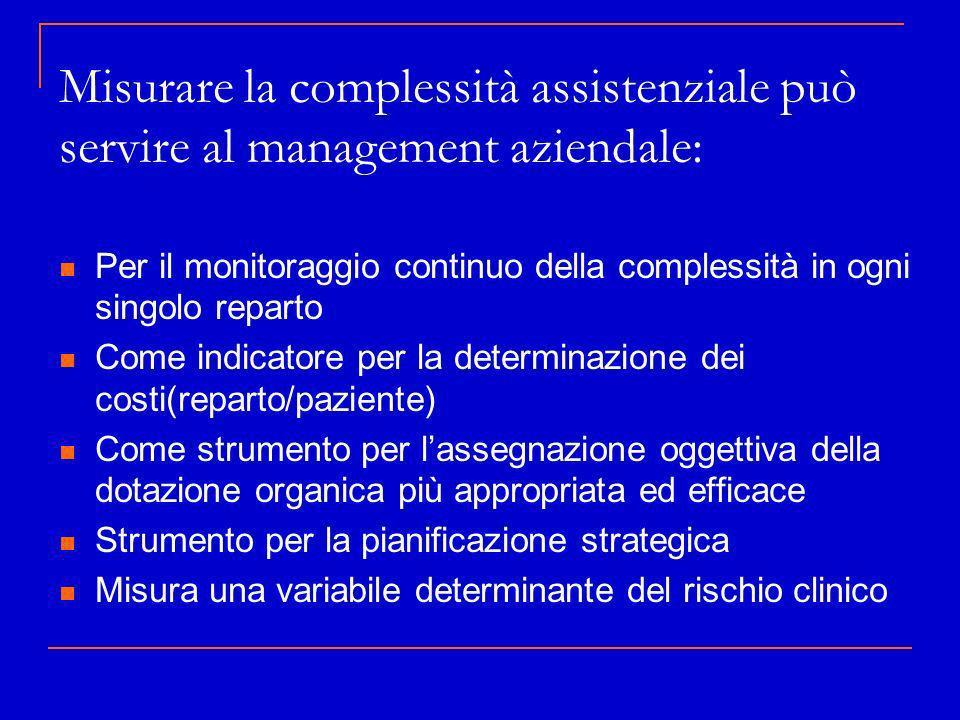 Misurare la complessità assistenziale può servire al management aziendale: Per il monitoraggio continuo della complessità in ogni singolo reparto Come