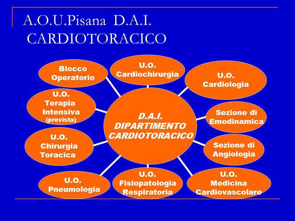 A.O.U.Pisana D.A.I. CARDIOTORACICO D.A.I. DIPARTIMENTO CARDIOTORACIC O U.O. Cardiochirurgia U.O. Cardiologia Sezione di Emodinamica Sezione di Angiolo