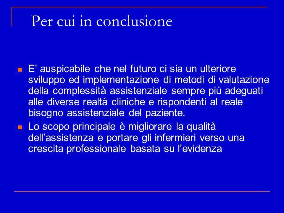 Per cui in conclusione E auspicabile che nel futuro ci sia un ulteriore sviluppo ed implementazione di metodi di valutazione della complessità assiste