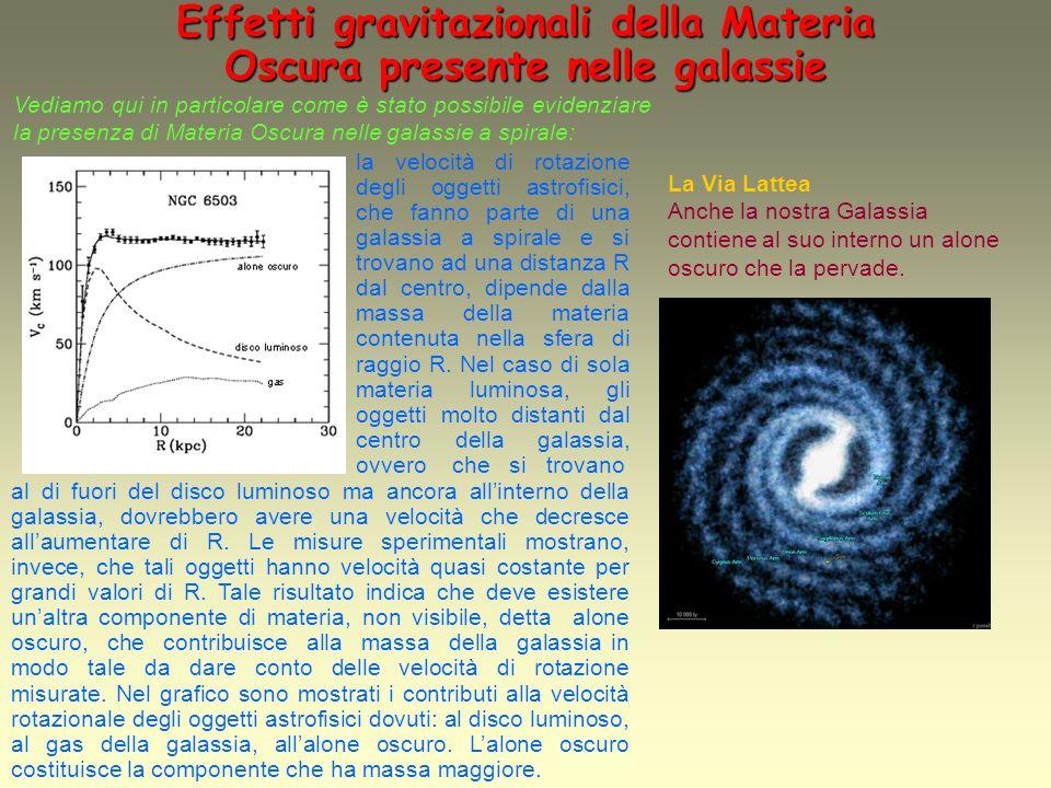 Sostegni teorici sullesistenza della Materia Oscura nellUniverso Le teorie sullevoluzione dellUniverso, che descrivono la formazione delle galassie e degli ammassi di galassie, richiedono che lUniverso sia costituito da una parte preponderante di Materia Oscura.