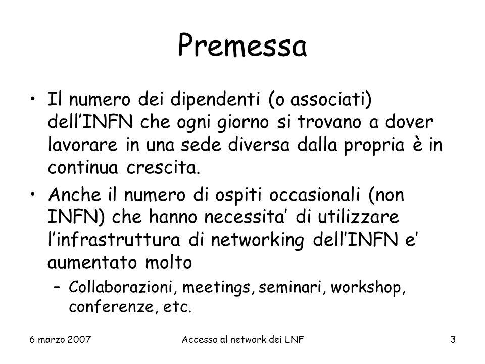 6 marzo 2007Accesso al network dei LNF54 Conferenze, workshop, seminari,...