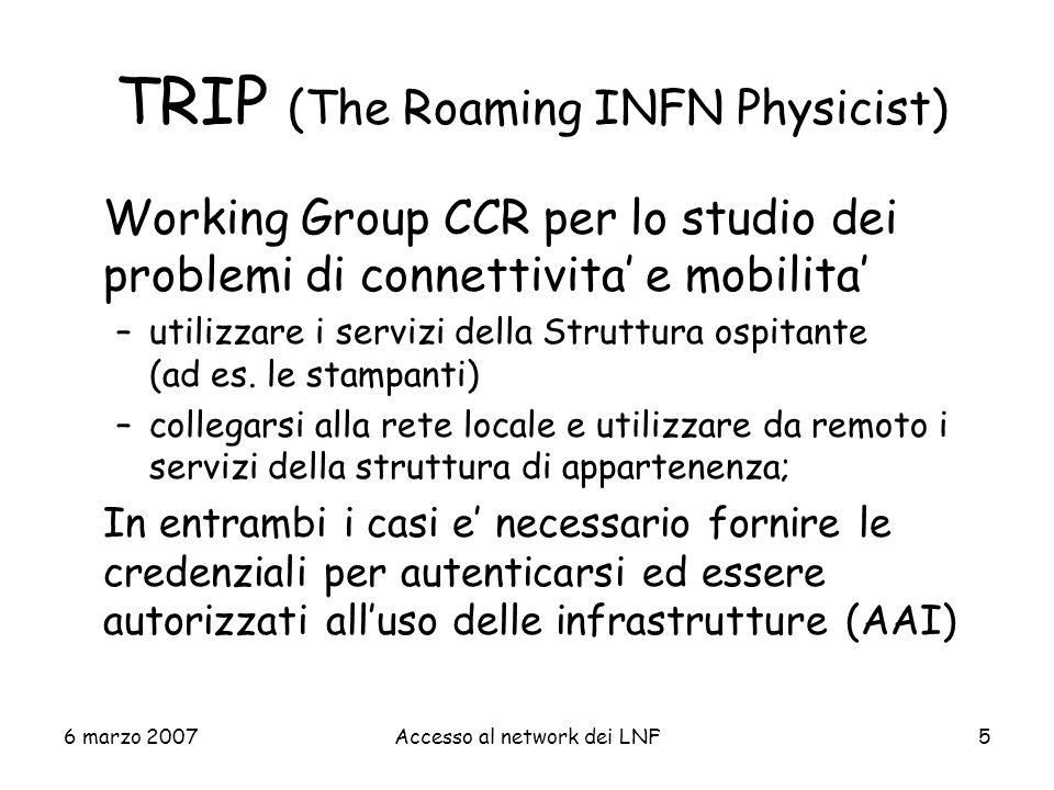 6 marzo 2007Accesso al network dei LNF56 Parametri JSP (dati del visitatore) E-MAIL=Mario.Rossi@dominio.it --------------------------------- NOME=Mario COGNOME=De Rossi DATA_NASCITA=15-12-1980 --------------------------------- DOC_TIPO=Carta didentita DOC_RILASCIATO_DA=Comune di Roma DOC_NUMERO=ABX11601 DOC_SCADENZA=15-04-2009