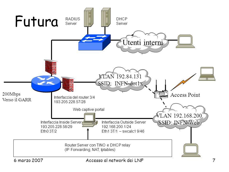 6 marzo 2007Accesso al network dei LNF8 2 vie di accesso WL 1.VLAN dedicata agli utenti Wireless INFN: –SSID (annunciato):INFN-dot1x –Network Authentication: WPA Wi-Fi Protected Access –Data Encription: TKIP Temporary Key Integrity Protocol 2.VLAN per gli ospiti occasionali: –SSID (annunciato):INFN-Web –Network Authentication: none –Data Encription: none