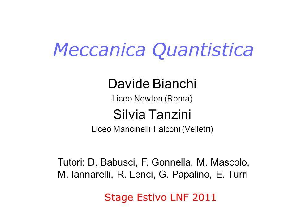 Meccanica Quantistica Stage Estivo LNF 2011 Davide Bianchi Liceo Newton (Roma) Silvia Tanzini Liceo Mancinelli-Falconi (Velletri) Tutori: D. Babusci,
