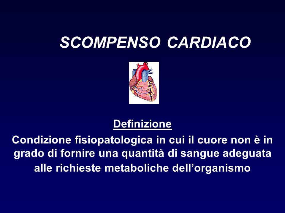 SCOMPENSO CARDIACO Definizione Condizione fisiopatologica in cui il cuore non è in grado di fornire una quantità di sangue adeguata alle richieste met
