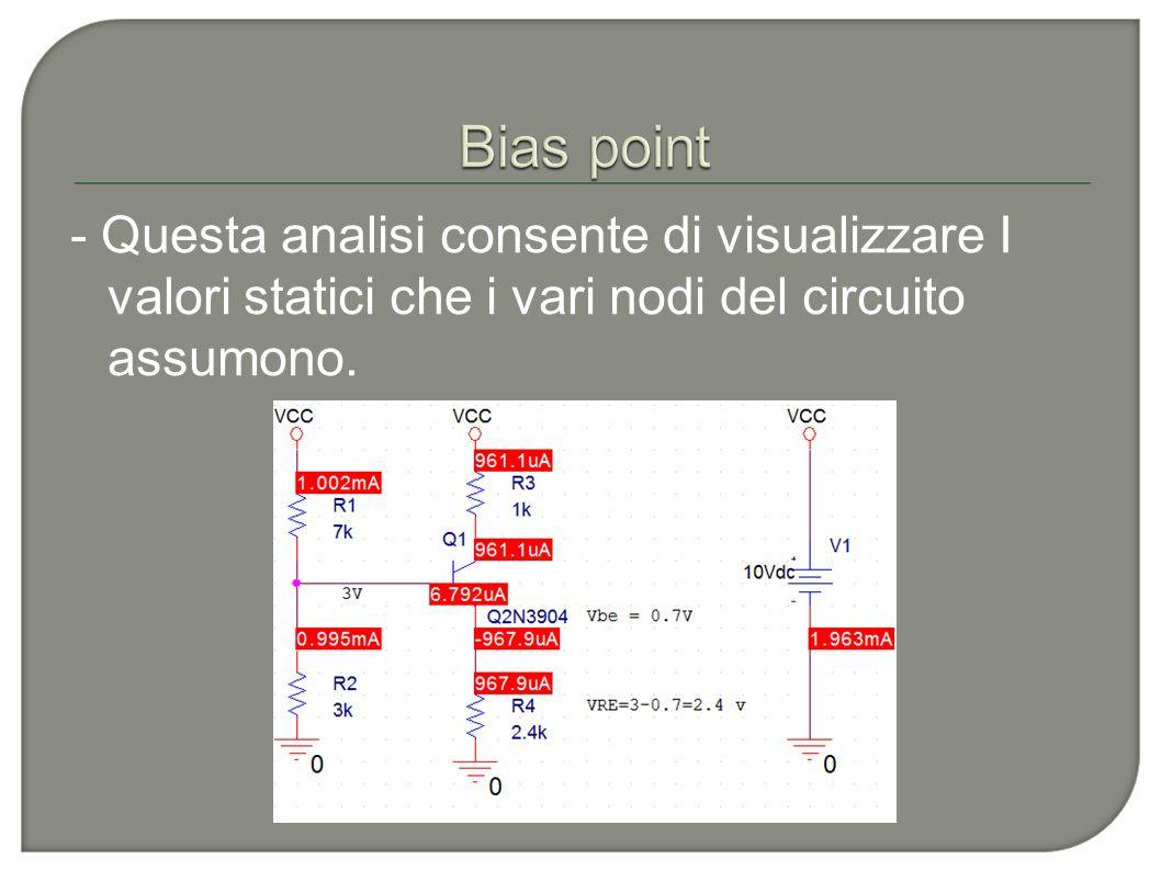 - Questa analisi consente di visualizzare I valori statici che i vari nodi del circuito assumono.