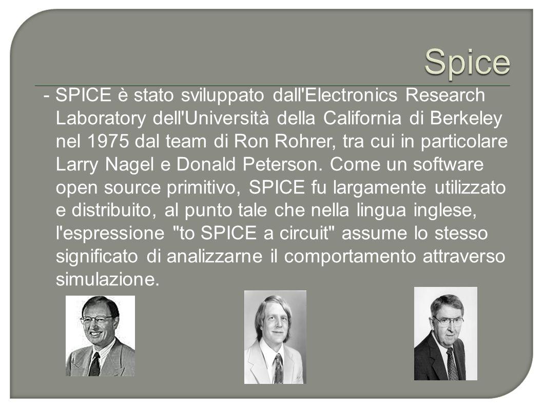 - SPICE è stato sviluppato dall'Electronics Research Laboratory dell'Università della California di Berkeley nel 1975 dal team di Ron Rohrer, tra cui