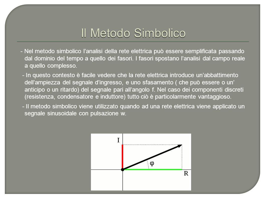 - Nel metodo simbolico lanalisi della rete elettrica può essere semplificata passando dal dominio del tempo a quello dei fasori. I fasori spostano lan