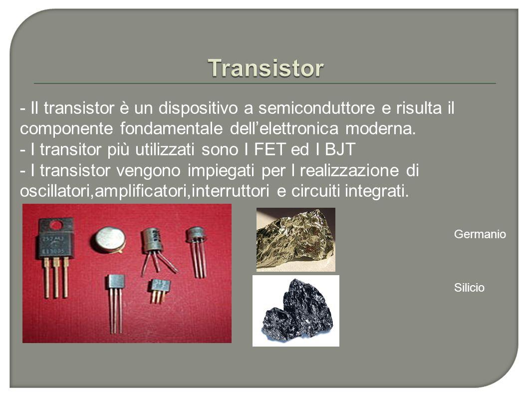 - Il transistor è un dispositivo a semiconduttore e risulta il componente fondamentale dellelettronica moderna. - I transitor più utilizzati sono I FE