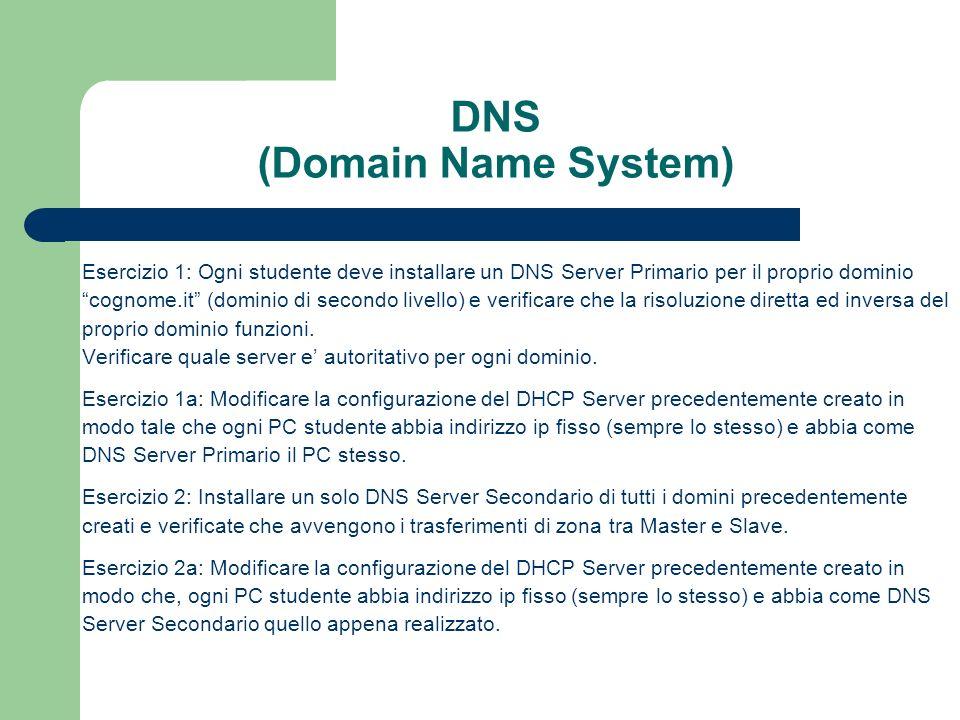 DNS (Domain Name System) Esercizio 1: Ogni studente deve installare un DNS Server Primario per il proprio dominio cognome.it (dominio di secondo livello) e verificare che la risoluzione diretta ed inversa del proprio dominio funzioni.