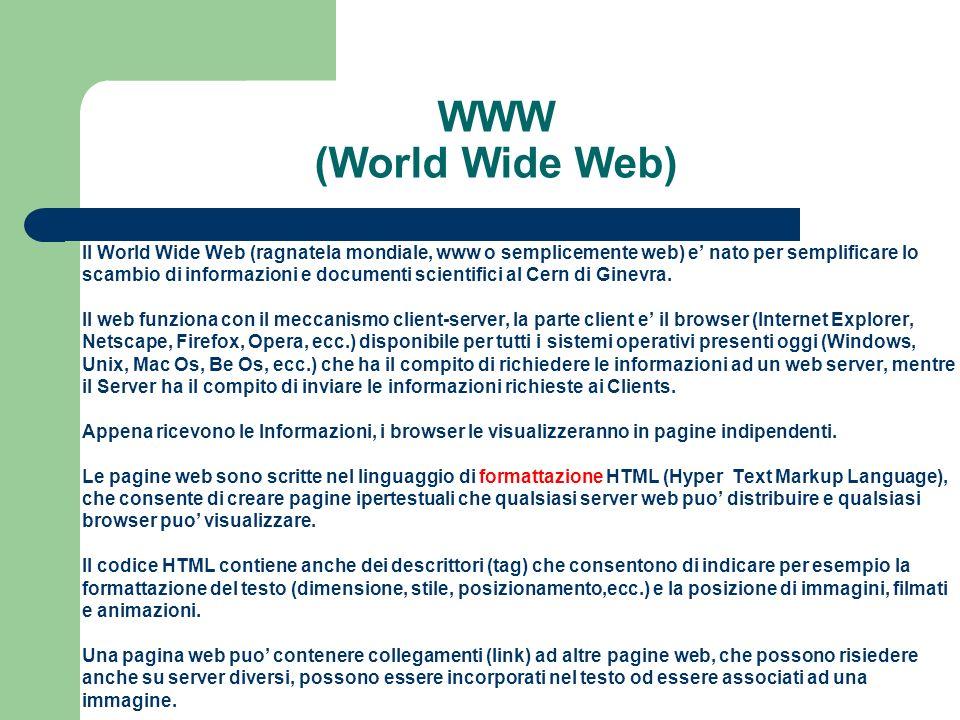 WWW (World Wide Web) Il World Wide Web (ragnatela mondiale, www o semplicemente web) e nato per semplificare lo scambio di informazioni e documenti scientifici al Cern di Ginevra.