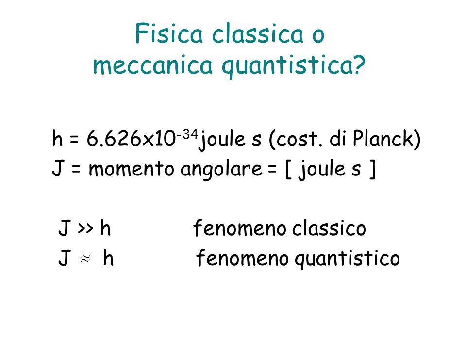 Fisica classica o meccanica quantistica? h = 6.626x10 -34 joule s (cost. di Planck) J = momento angolare = [ joule s ] J >> h fenomeno classico J h fe