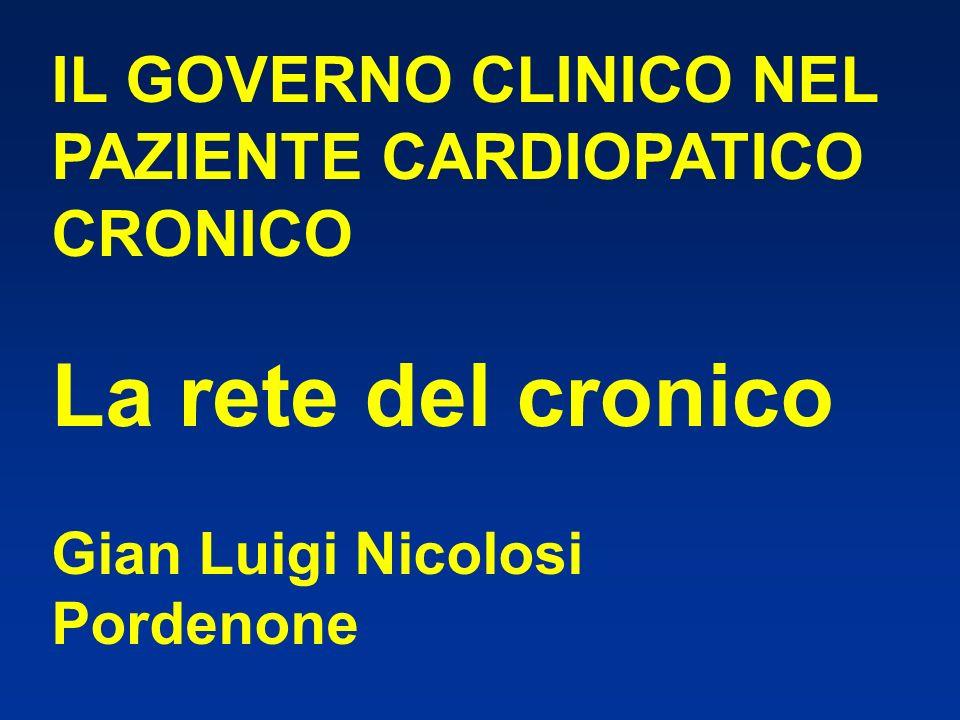 IL GOVERNO CLINICO NEL PAZIENTE CARDIOPATICO CRONICO La rete del cronico Gian Luigi Nicolosi Pordenone