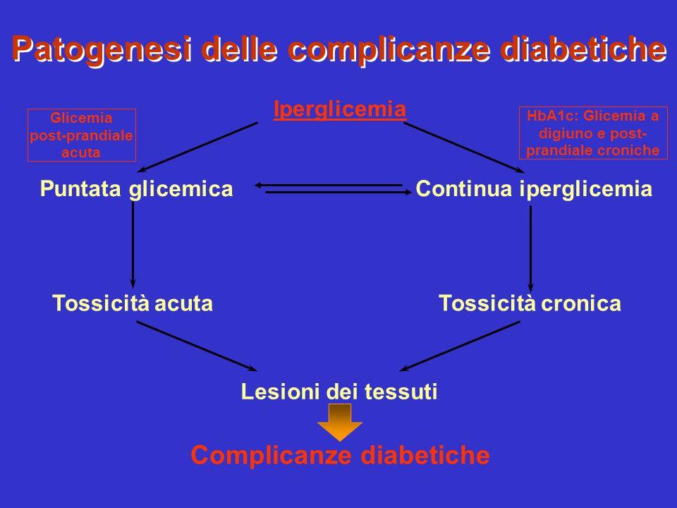 Patogenesi delle complicanze diabetiche Complicanze diabetiche Iperglicemia Puntata glicemicaContinua iperglicemia Tossicità acutaTossicità cronica Le