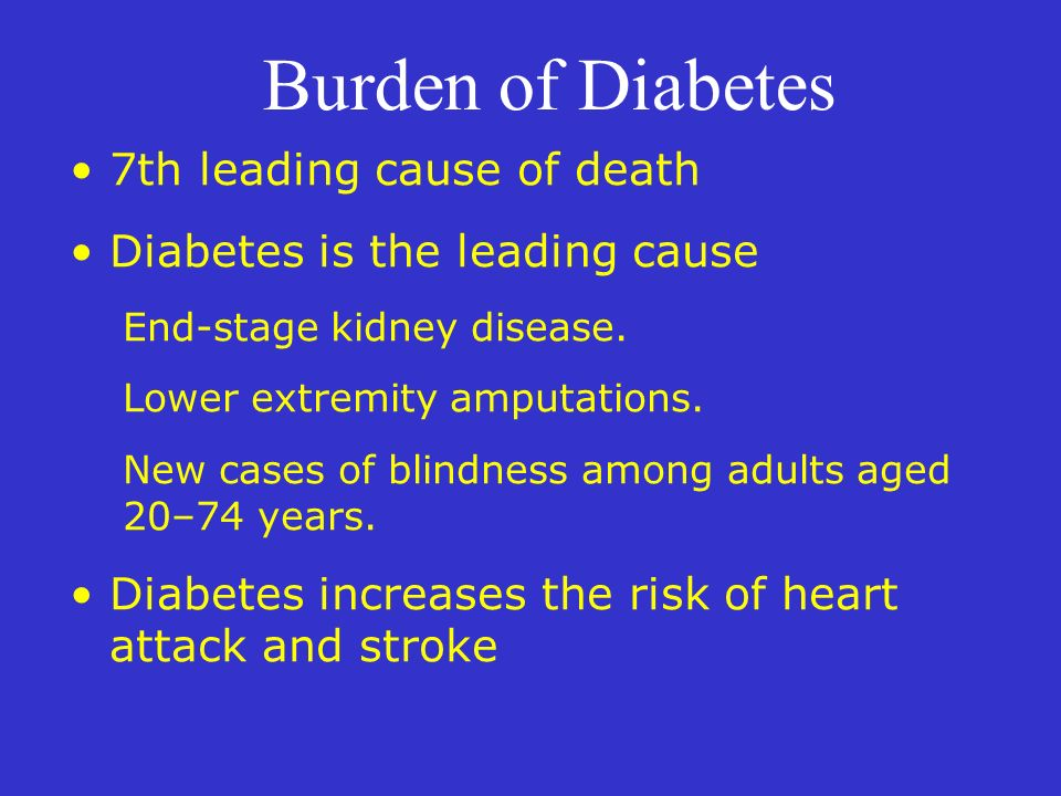 Burden of Diabetes 7th leading cause of death Diabetes is the leading cause End-stage kidney disease. Lower extremity amputations. New cases of blindn
