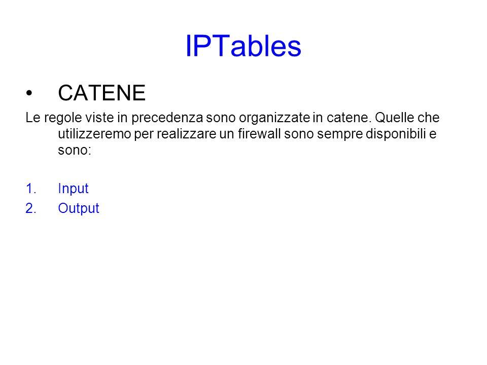 IPTables TABELLE Le regole viste in precedenza sono organizzate in catene.