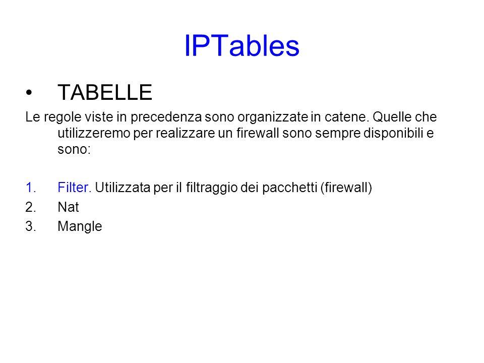 IPTables Realizzazione di un firewall Per avviare il servizio: /etc/init.d/iptables start Lista regole: iptables -L Per svuotare una tabella (flush): iptables -F