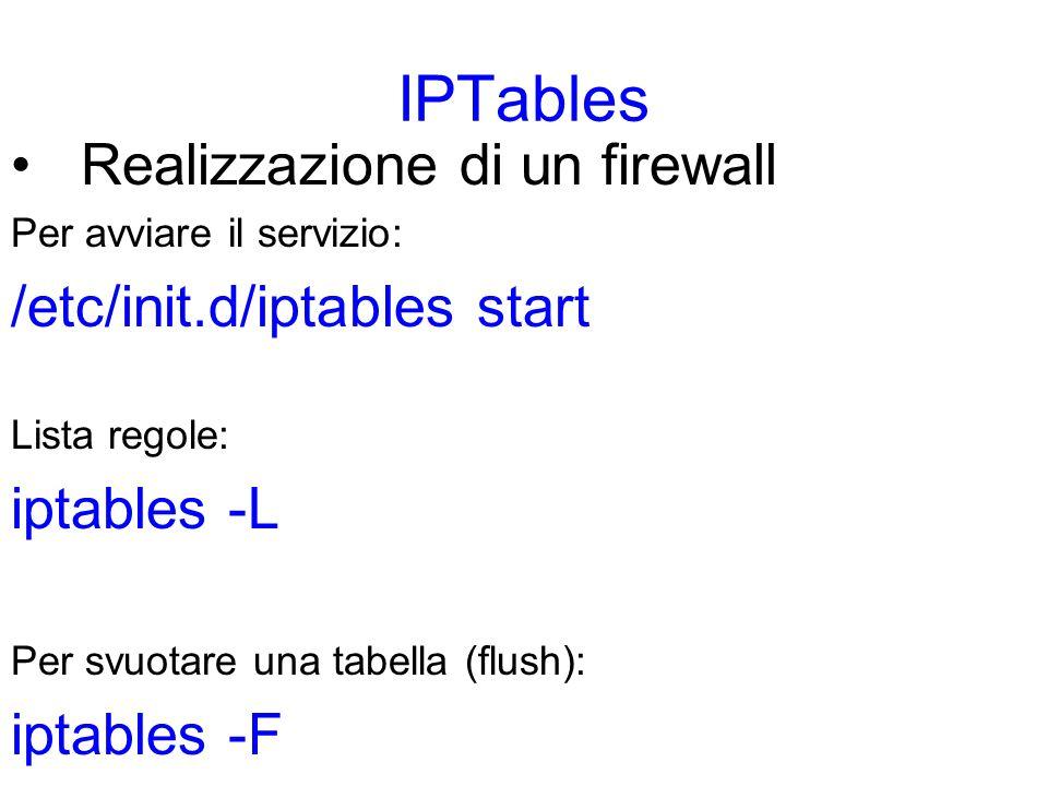IPTables Realizzazione di un firewall Per aggiungere una regola alla tabella filter: iptables -t filter Si deve scegliere poi la catena di input o output: iptables -t filter –A INPUT Si deve scegliere poi quale proprieta del pacchetto controllare: iptables -t filter –A INPUT --source 192.168.0.1 Infine si decide lazione da intraprendere per quel pacchetto (target) iptables -t filter –A INPUT --source 192.168.0.1 –j drop