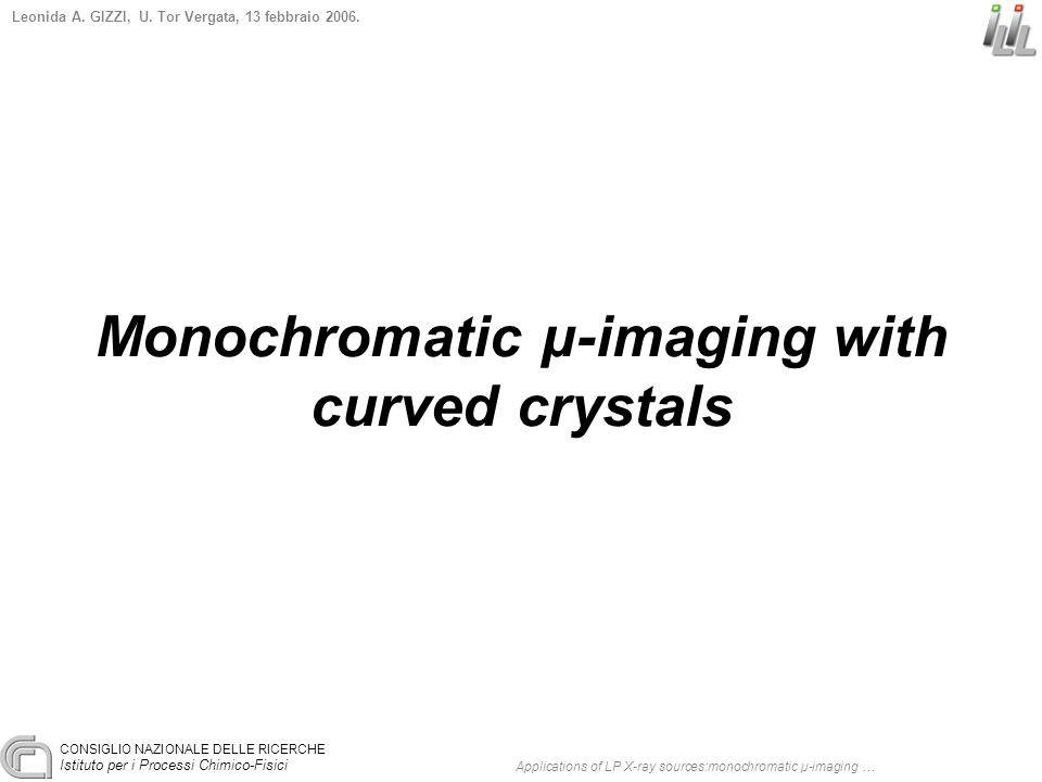 CONSIGLIO NAZIONALE DELLE RICERCHE Istituto per i Processi Chimico-Fisici Leonida A. GIZZI, U. Tor Vergata, 13 febbraio 2006. Monochromatic µ-imaging