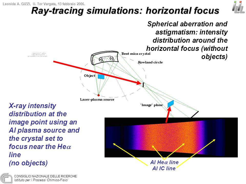 CONSIGLIO NAZIONALE DELLE RICERCHE Istituto per i Processi Chimico-Fisici Leonida A. GIZZI, U. Tor Vergata, 13 febbraio 2006. X-ray intensity distribu