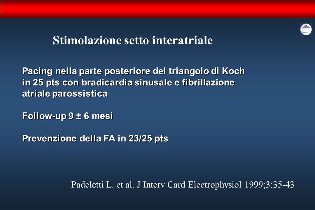 Stimolazione setto interatriale Padeletti L. et al. J Interv Card Electrophysiol 1999;3:35-43 Pacing nella parte posteriore del triangolo di Koch in 2