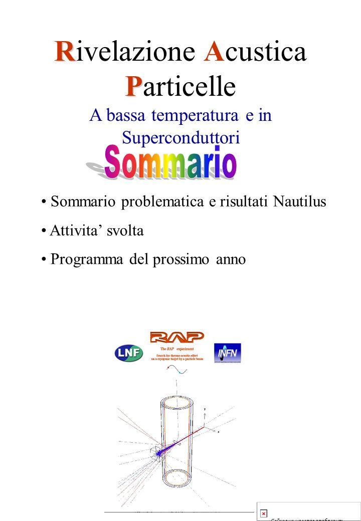 R P Rivelazione Acustica Particelle A bassa temperatura e in Superconduttori Sommario problematica e risultati Nautilus Attivita svolta Programma del