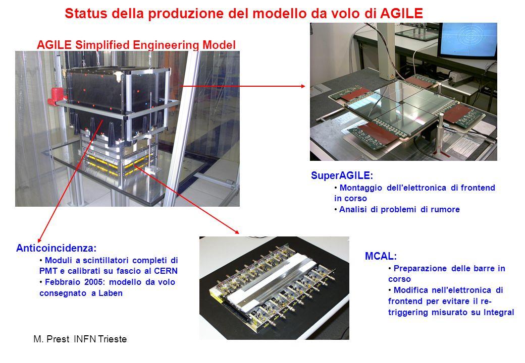 AGILE Simplified Engineering Model SuperAGILE: Montaggio dell'elettronica di frontend in corso Analisi di problemi di rumore MCAL: Preparazione delle