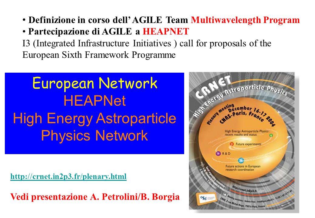 European Network HEAPNet High Energy Astroparticle Physics Network http://crnet.in2p3.fr/plenary.html Vedi presentazione A. Petrolini/B. Borgia Defini
