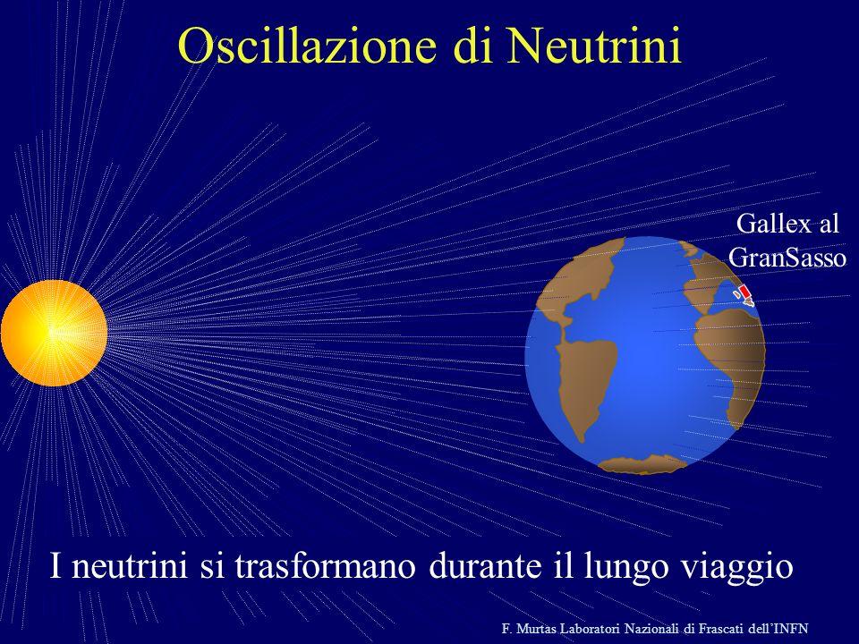 F. Murtas Laboratori Nazionali di Frascati dellINFN Gallex al GranSasso Oscillazione di Neutrini I neutrini si trasformano durante il lungo viaggio