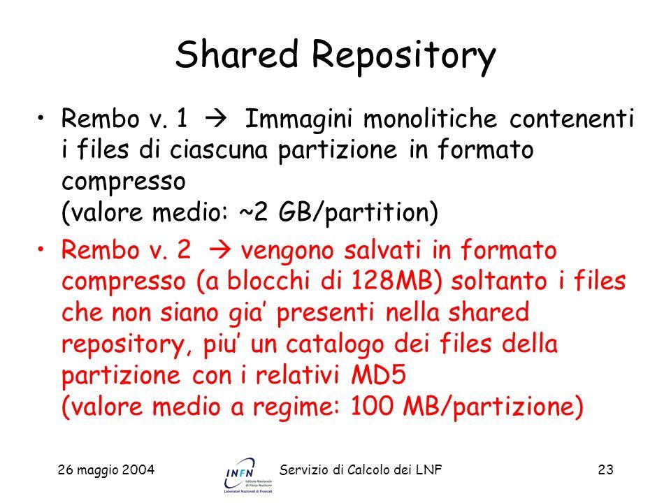 26 maggio 2004Servizio di Calcolo dei LNF23 Shared Repository Rembo v. 1 Immagini monolitiche contenenti i files di ciascuna partizione in formato com