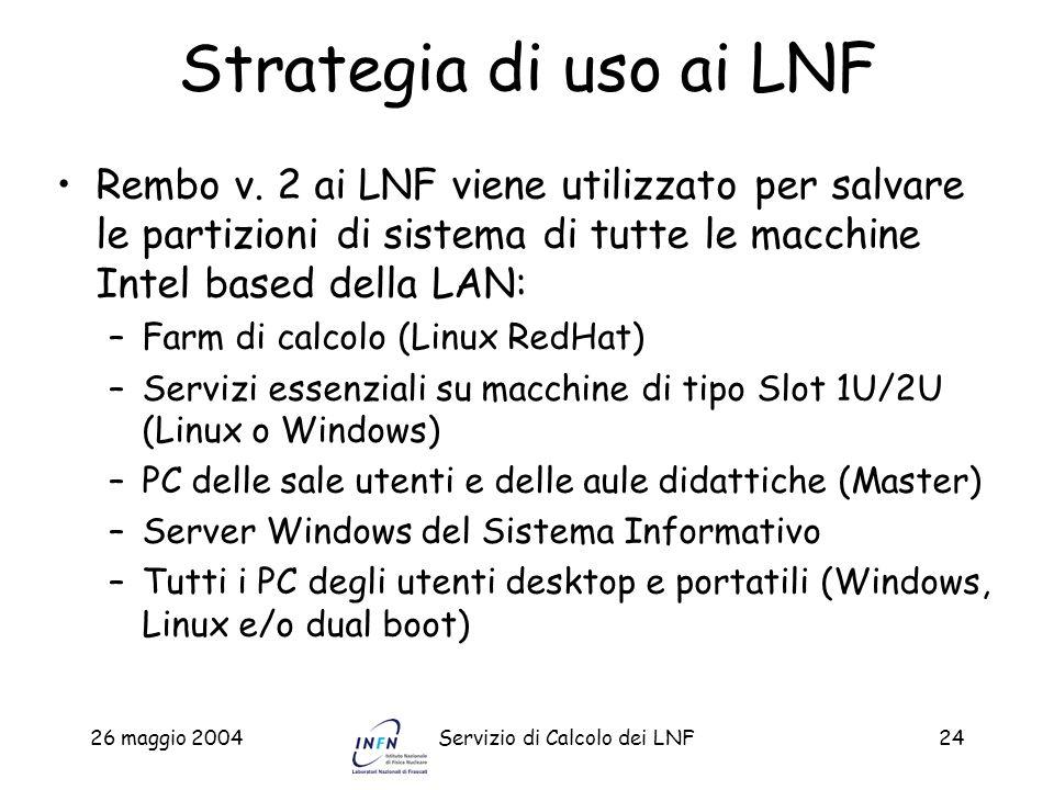 26 maggio 2004Servizio di Calcolo dei LNF24 Strategia di uso ai LNF Rembo v. 2 ai LNF viene utilizzato per salvare le partizioni di sistema di tutte l