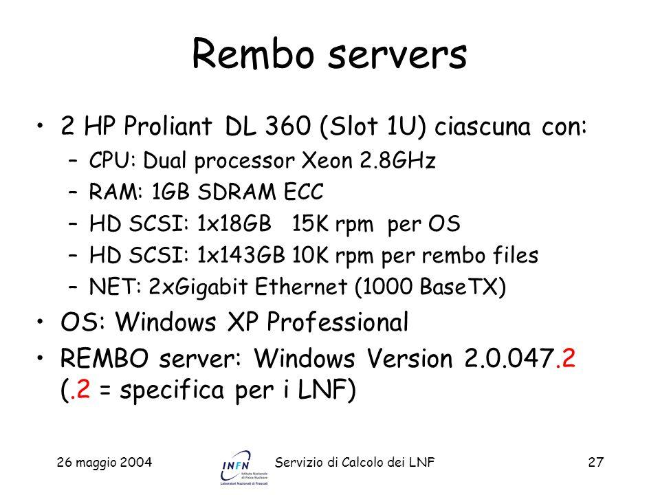26 maggio 2004Servizio di Calcolo dei LNF27 Rembo servers 2 HP Proliant DL 360 (Slot 1U) ciascuna con: –CPU: Dual processor Xeon 2.8GHz –RAM: 1GB SDRA
