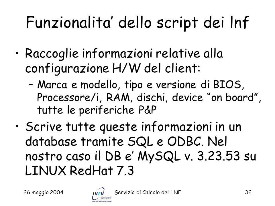 26 maggio 2004Servizio di Calcolo dei LNF32 Funzionalita dello script dei lnf Raccoglie informazioni relative alla configurazione H/W del client: –Mar