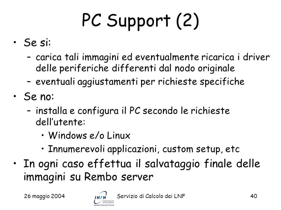26 maggio 2004Servizio di Calcolo dei LNF40 PC Support (2) Se si: –carica tali immagini ed eventualmente ricarica i driver delle periferiche different
